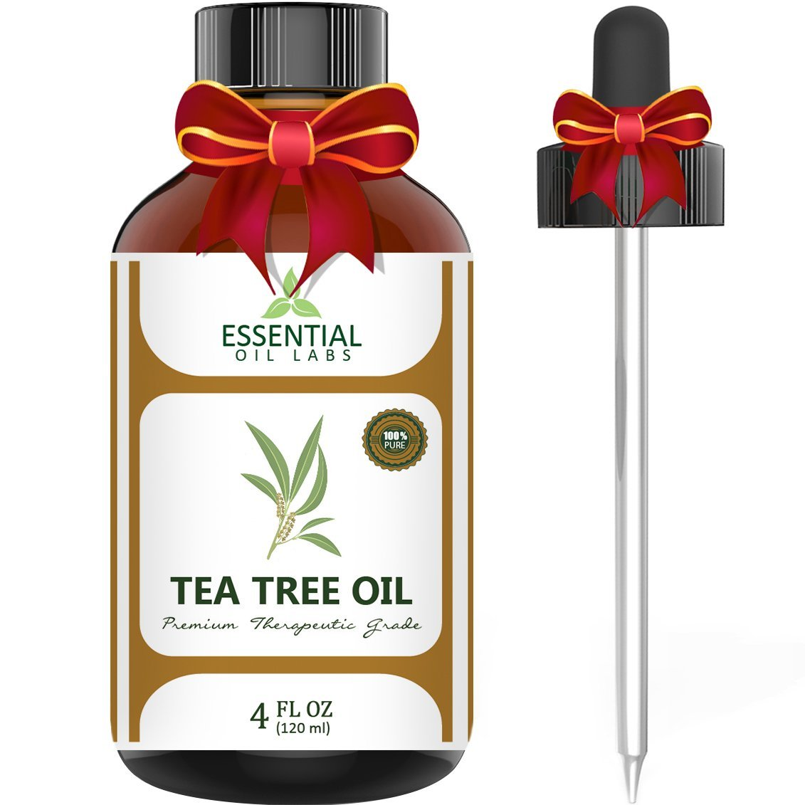 Essential Oil Labs Natural Therapeutic Grade Tea Tree Oil with Glass Dropper