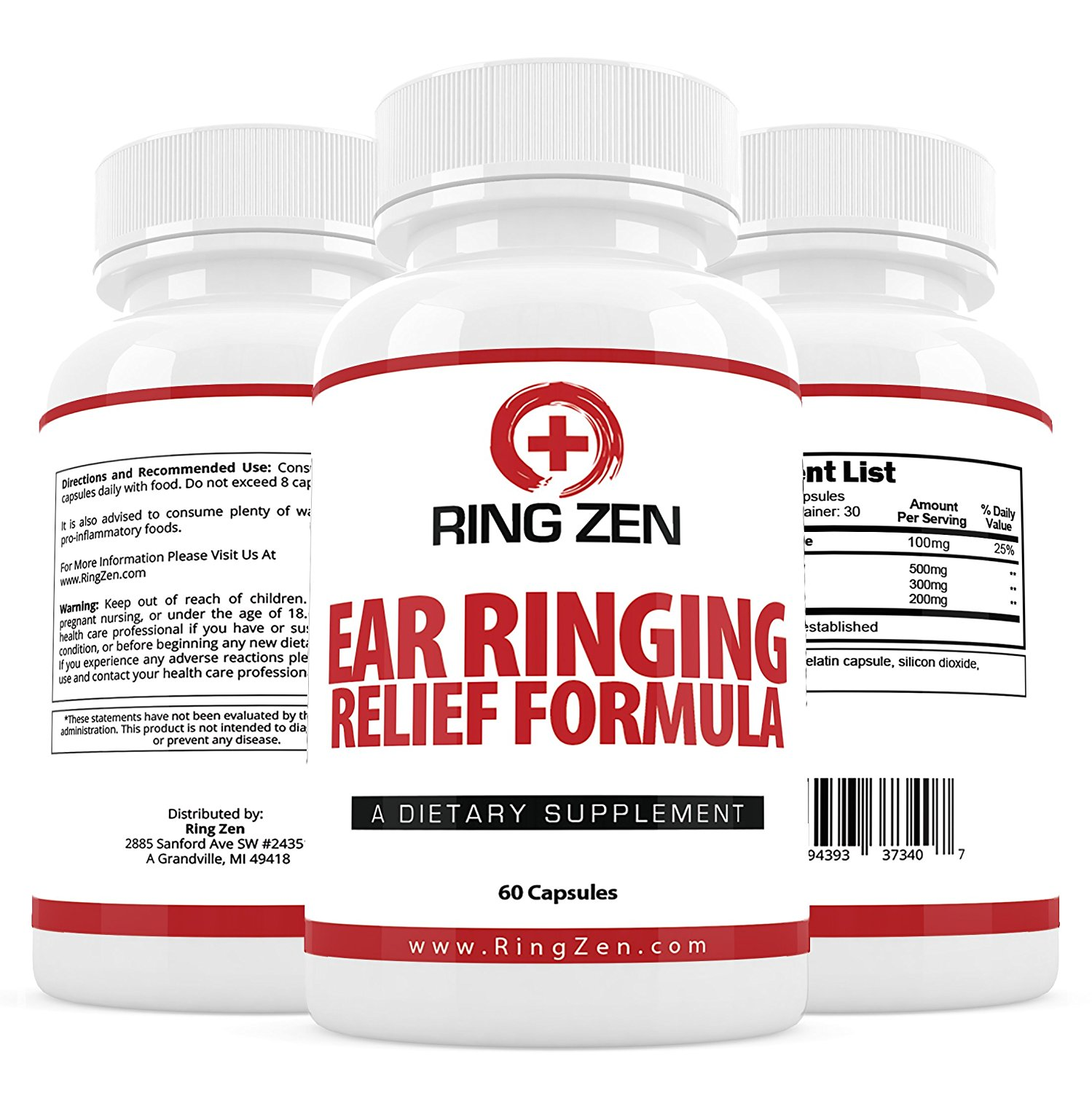 RingZen Natural Tinnitus Relief Supplement, Effective Ear Ringing Help And Support, Stop The Ringing In Ears Formula